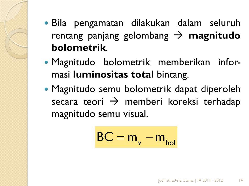 Magnitudo bolometrik memberikan infor- masi luminositas total bintang.