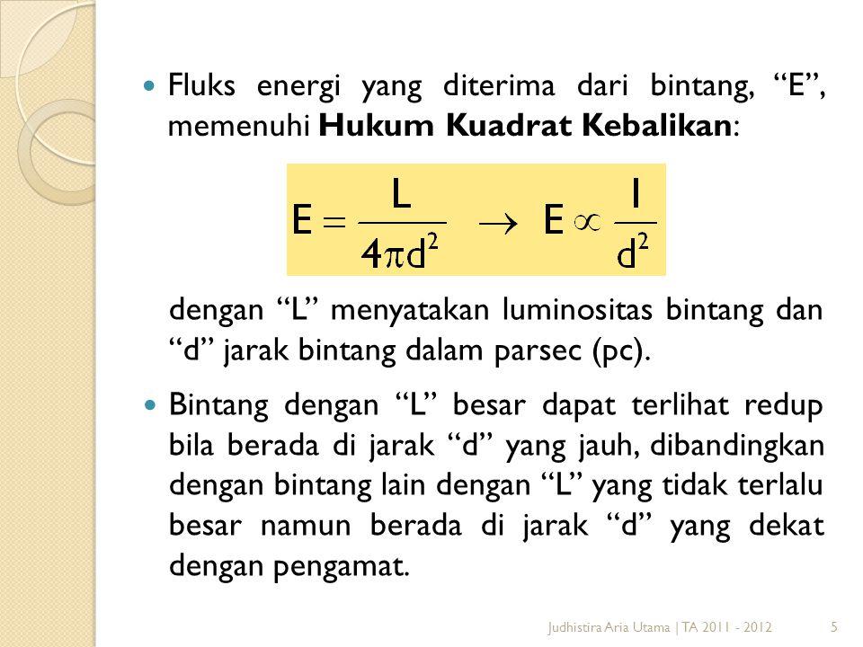 Fluks energi yang diterima dari bintang, E , memenuhi Hukum Kuadrat Kebalikan: