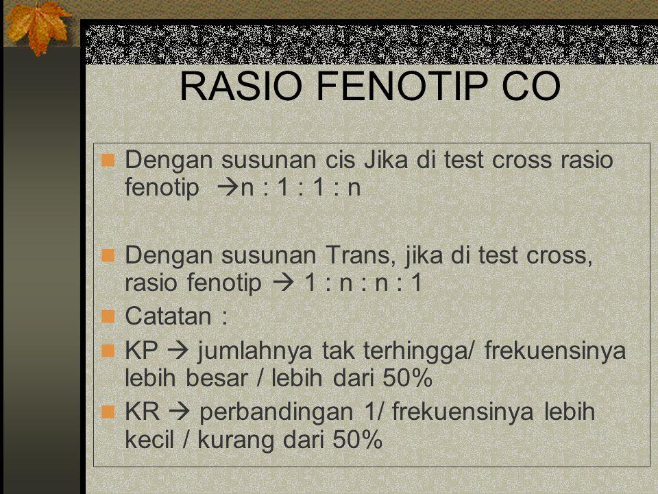 RASIO FENOTIP CO Dengan susunan cis Jika di test cross rasio fenotip n : 1 : 1 : n.