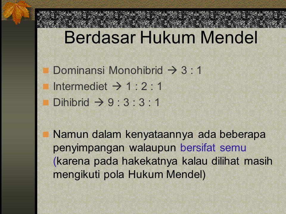 Berdasar Hukum Mendel Dominansi Monohibrid  3 : 1