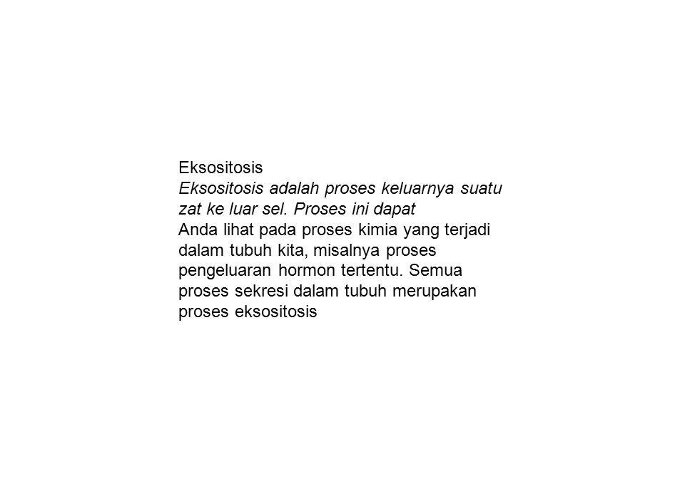 Eksositosis Eksositosis adalah proses keluarnya suatu zat ke luar sel. Proses ini dapat.