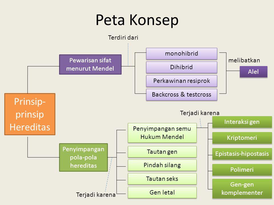 Peta Konsep Prinsip-prinsip Hereditas Terdiri dari monohibrid