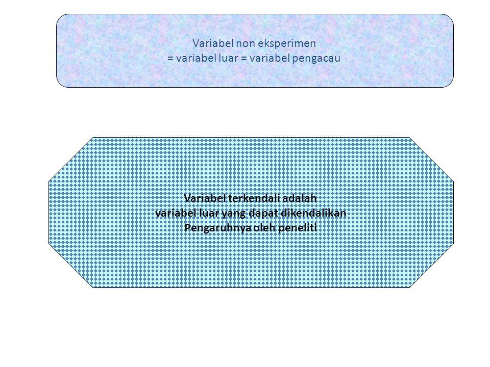 Variabel non eksperimen = variabel luar = variabel pengacau