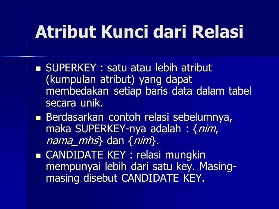 Atribut Kunci dari Relasi