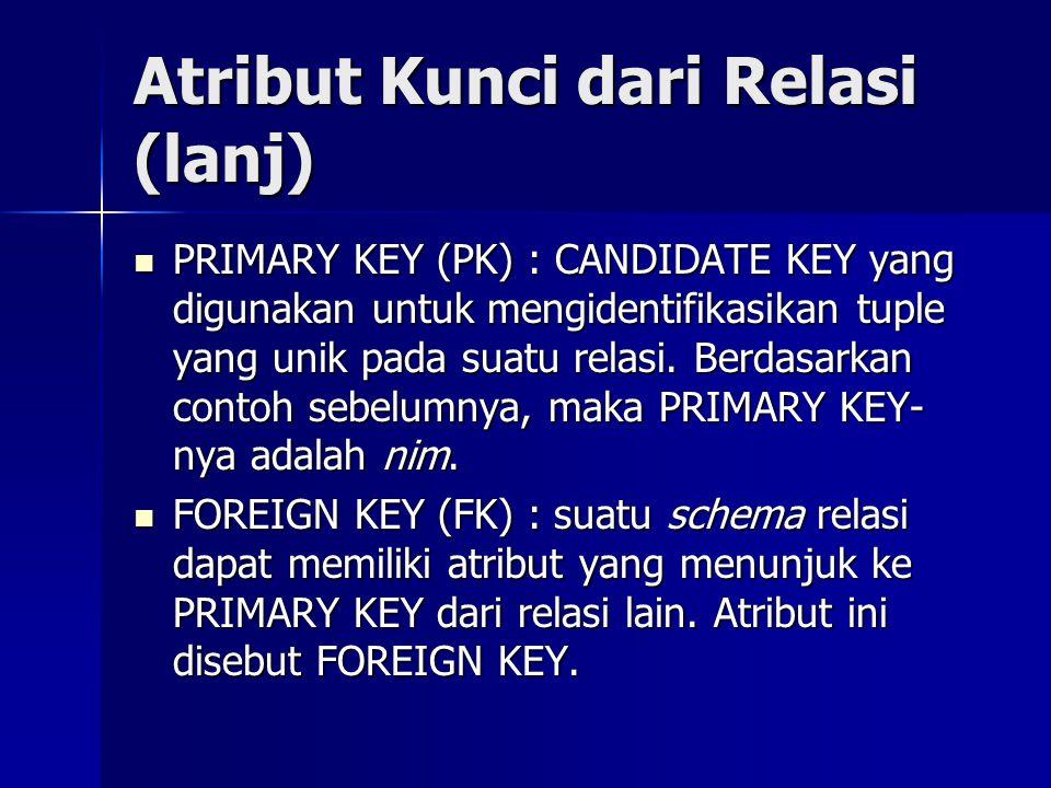 Atribut Kunci dari Relasi (lanj)