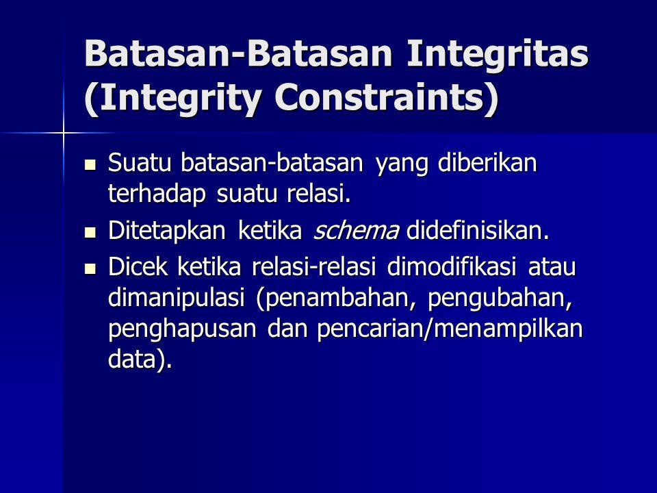 Batasan-Batasan Integritas (Integrity Constraints)