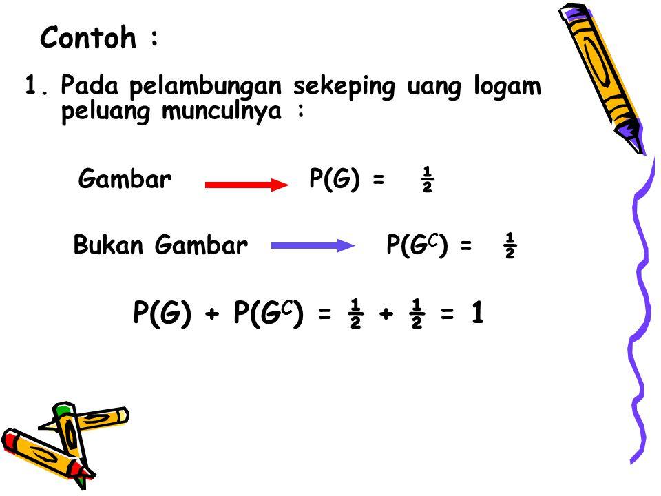 Contoh : P(G) + P(GC) = ½ + ½ = 1