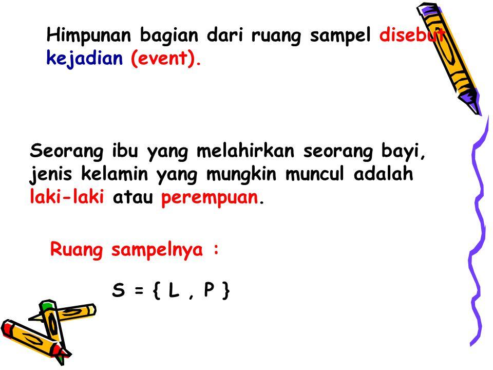 Himpunan bagian dari ruang sampel disebut kejadian (event).