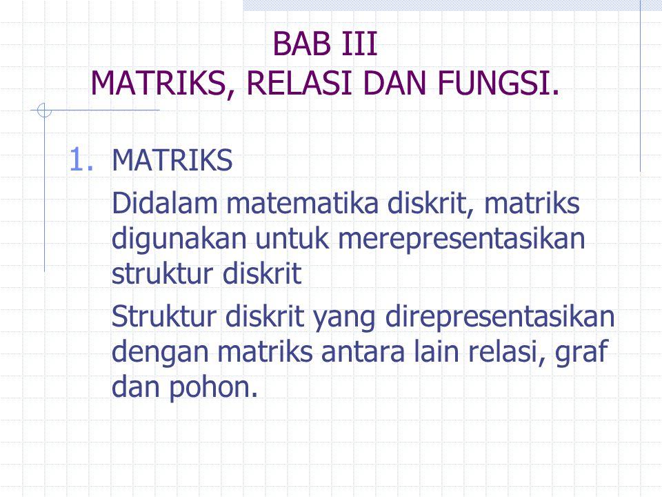 BAB III MATRIKS, RELASI DAN FUNGSI.