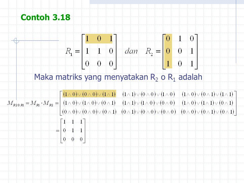 Contoh 3.18 Maka matriks yang menyatakan R2 o R1 adalah
