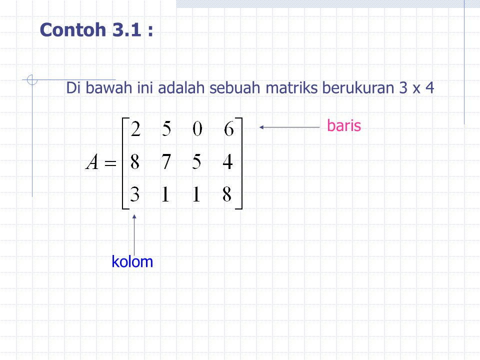 Contoh 3.1 : Di bawah ini adalah sebuah matriks berukuran 3 x 4 baris
