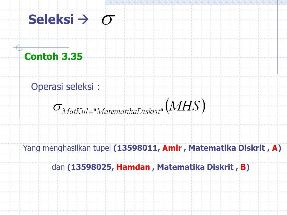 Seleksi  Contoh 3.35 Operasi seleksi :