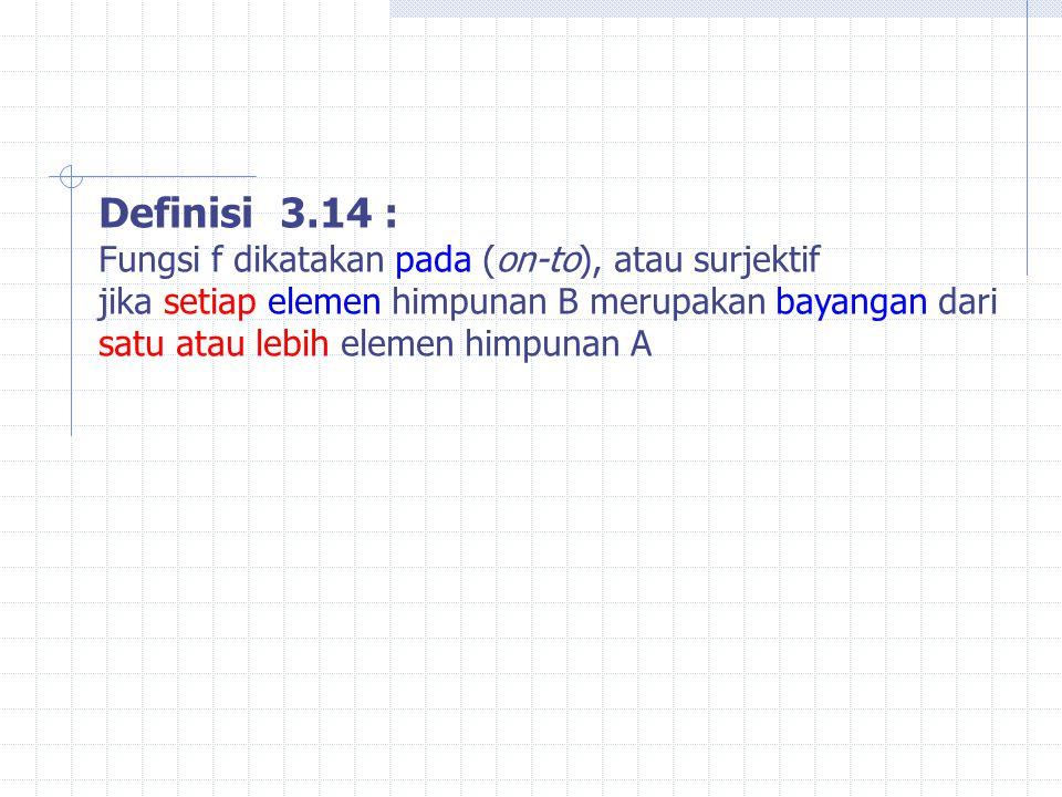 Definisi 3.14 : Fungsi f dikatakan pada (on-to), atau surjektif