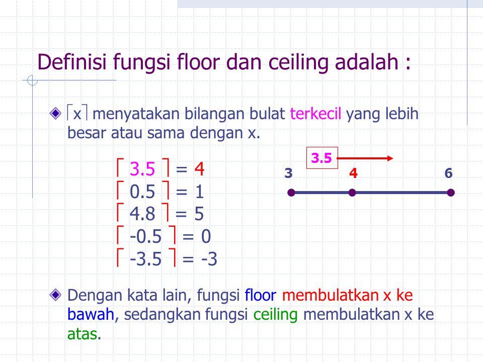 Definisi fungsi floor dan ceiling adalah :