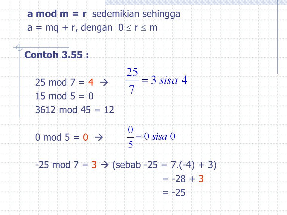 a mod m = r sedemikian sehingga