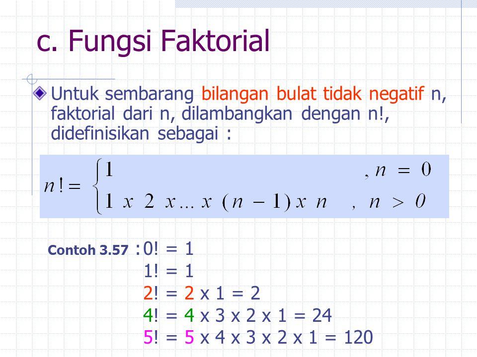 c. Fungsi Faktorial Untuk sembarang bilangan bulat tidak negatif n, faktorial dari n, dilambangkan dengan n!, didefinisikan sebagai :