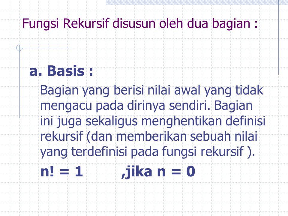Fungsi Rekursif disusun oleh dua bagian :