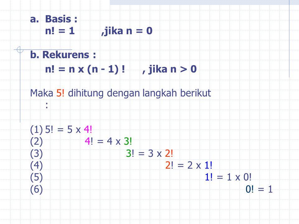 Basis : n! = 1 ,jika n = 0. b. Rekurens : n! = n x (n - 1) ! , jika n > 0. Maka 5! dihitung dengan langkah berikut :