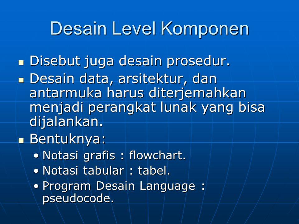 Desain Level Komponen Disebut juga desain prosedur.