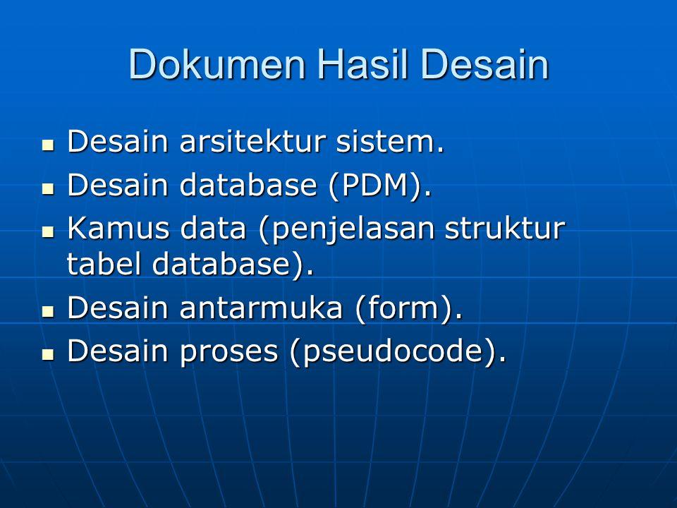 Dokumen Hasil Desain Desain arsitektur sistem. Desain database (PDM).