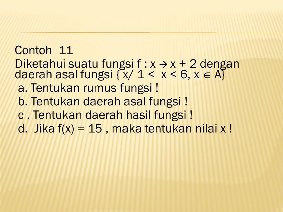 Contoh 11 Diketahui suatu fungsi f : x  x + 2 dengan daerah asal fungsi { x/ 1 < x < 6, x  A} a.