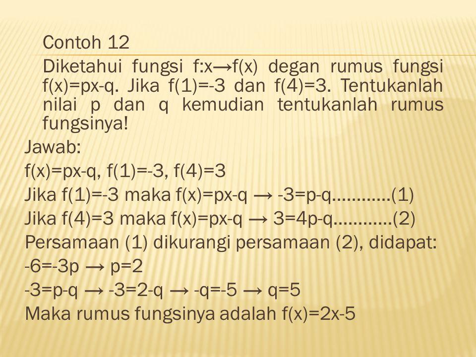 Contoh 12 Diketahui fungsi f:x→f(x) degan rumus fungsi f(x)=px-q