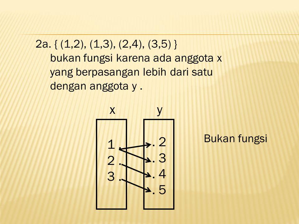 2a. { (1,2), (1,3), (2,4), (3,5) } bukan fungsi karena ada anggota x. yang berpasangan lebih dari satu.