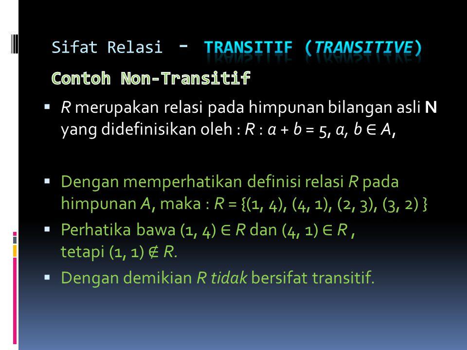 Sifat Relasi - Transitif (transitive) Contoh Non-Transitif