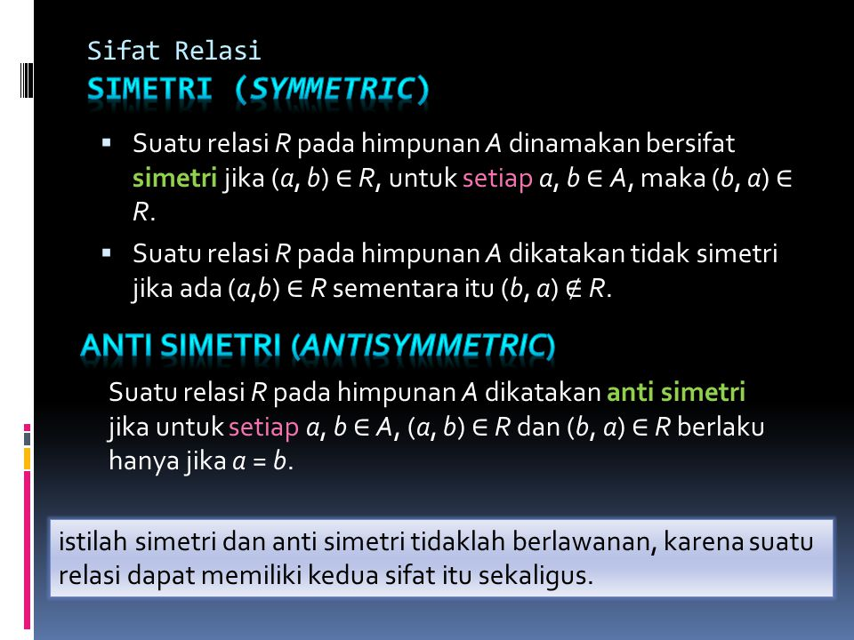 Sifat Relasi Simetri (symmetric)