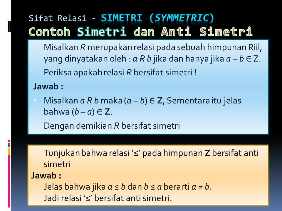 Sifat Relasi - Simetri (symmetric) Contoh Simetri dan Anti Simetri