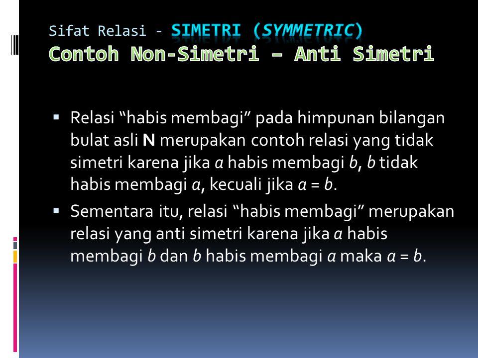 Sifat Relasi - Simetri (symmetric) Contoh Non-Simetri – Anti Simetri
