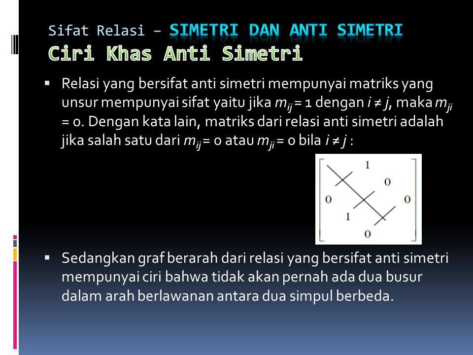 Sifat Relasi – Simetri dan Anti Simetri Ciri Khas Anti Simetri