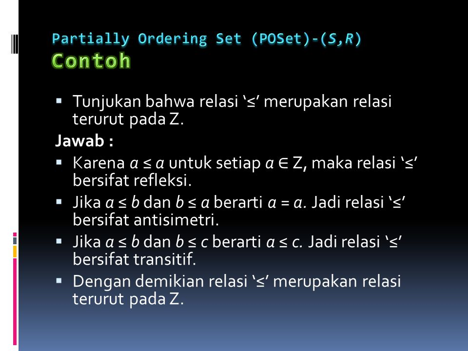 Partially Ordering Set (POSet)-(S,R) Contoh