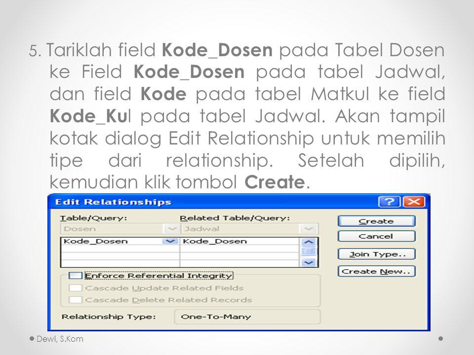 5. Tariklah field Kode_Dosen pada Tabel Dosen ke Field Kode_Dosen pada tabel Jadwal, dan field Kode pada tabel Matkul ke field Kode_Kul pada tabel Jadwal. Akan tampil kotak dialog Edit Relationship untuk memilih tipe dari relationship. Setelah dipilih, kemudian klik tombol Create.
