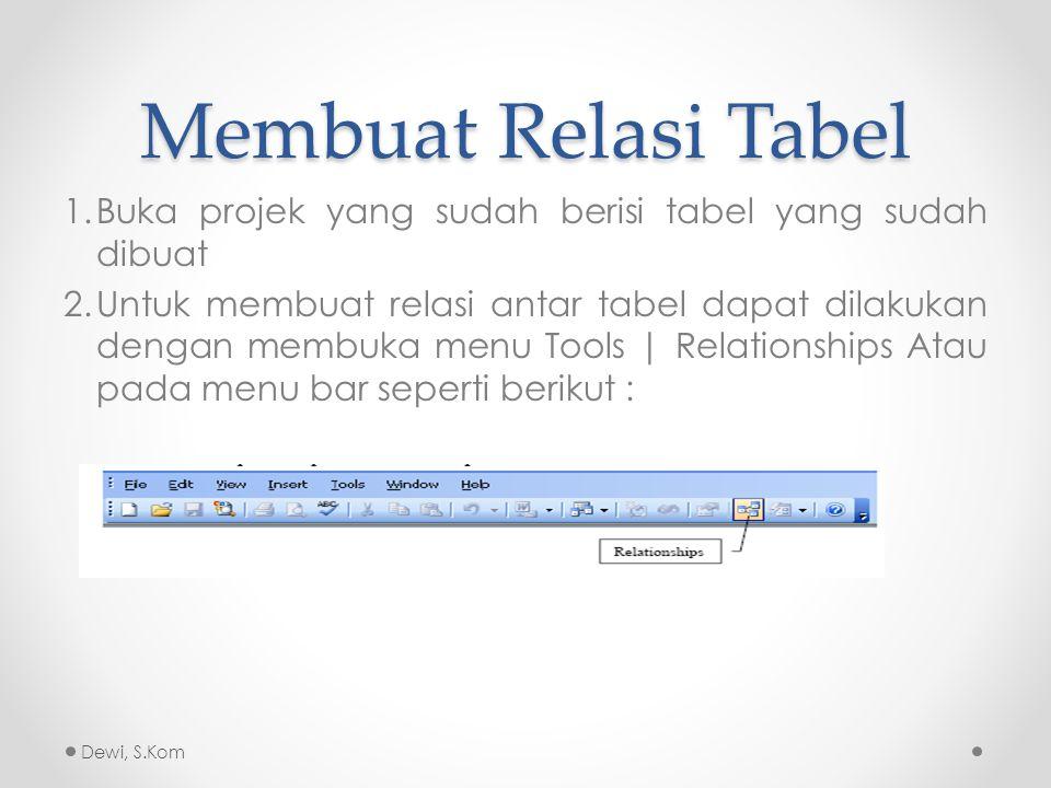 Membuat Relasi Tabel Buka projek yang sudah berisi tabel yang sudah dibuat.