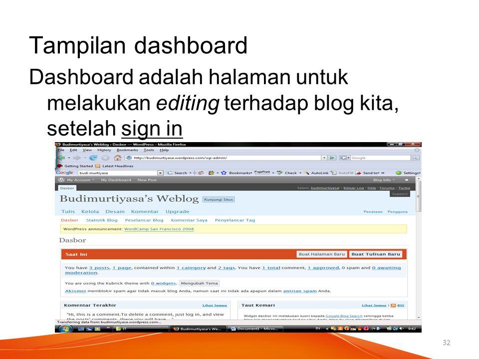 Tampilan dashboard Dashboard adalah halaman untuk melakukan editing terhadap blog kita, setelah sign in.