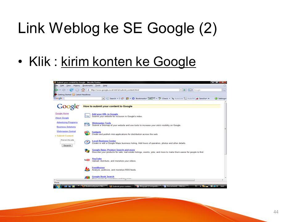 Link Weblog ke SE Google (2)