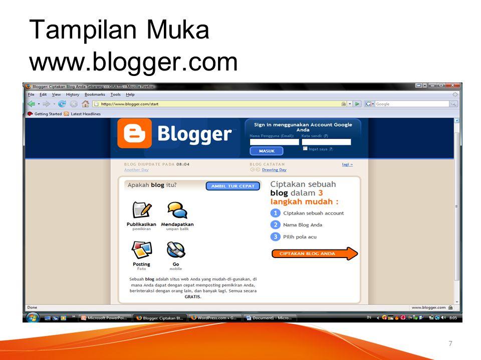 Tampilan Muka www.blogger.com