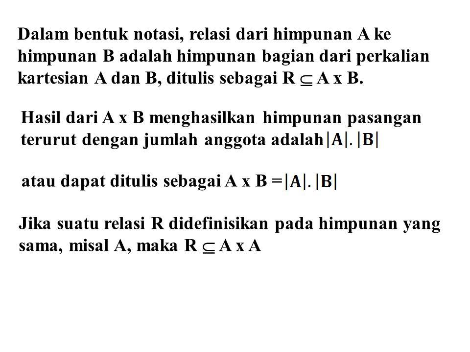Dalam bentuk notasi, relasi dari himpunan A ke