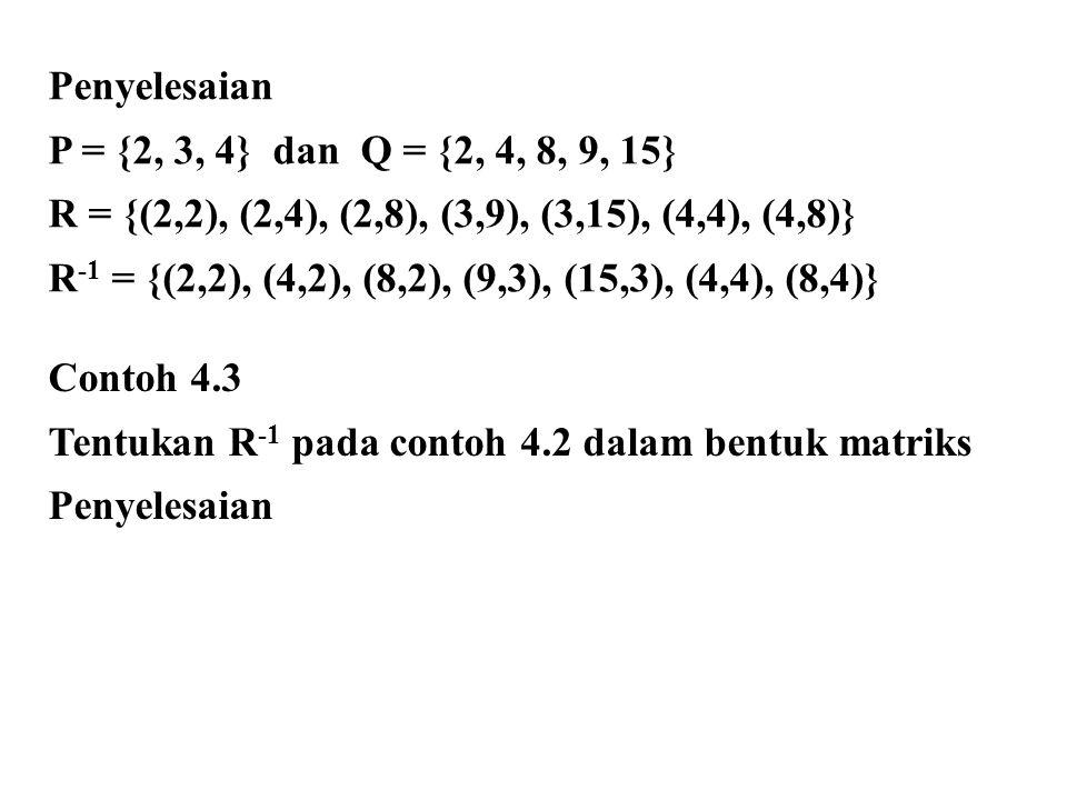 Penyelesaian P = {2, 3, 4} dan Q = {2, 4, 8, 9, 15} R = {(2,2), (2,4), (2,8), (3,9), (3,15), (4,4), (4,8)}