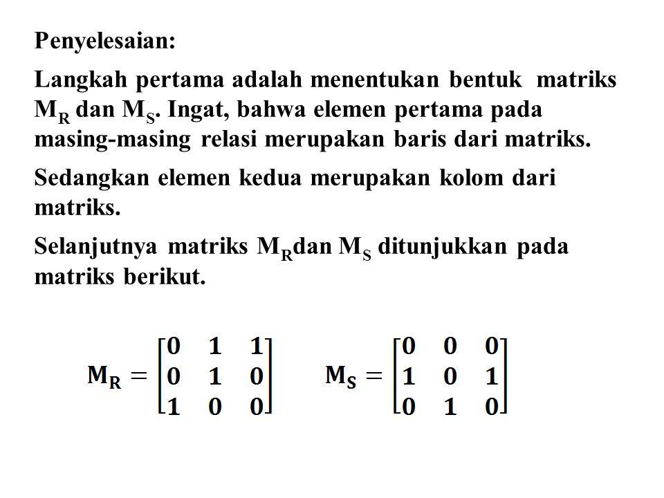 Penyelesaian: Langkah pertama adalah menentukan bentuk matriks. MR dan MS. Ingat, bahwa elemen pertama pada.