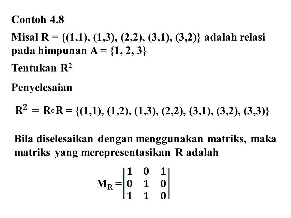 Misal R = {(1,1), (1,3), (2,2), (3,1), (3,2)} adalah relasi