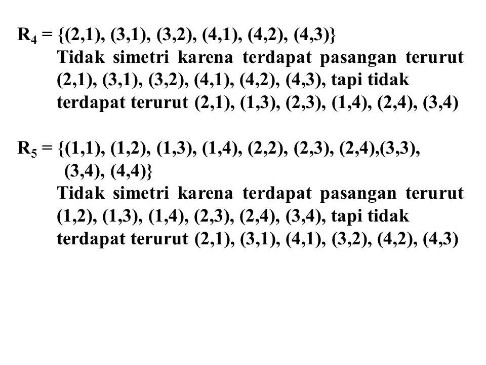 R4 = {(2,1), (3,1), (3,2), (4,1), (4,2), (4,3)} Tidak simetri karena terdapat pasangan terurut (2,1), (3,1), (3,2), (4,1), (4,2), (4,3), tapi tidak.