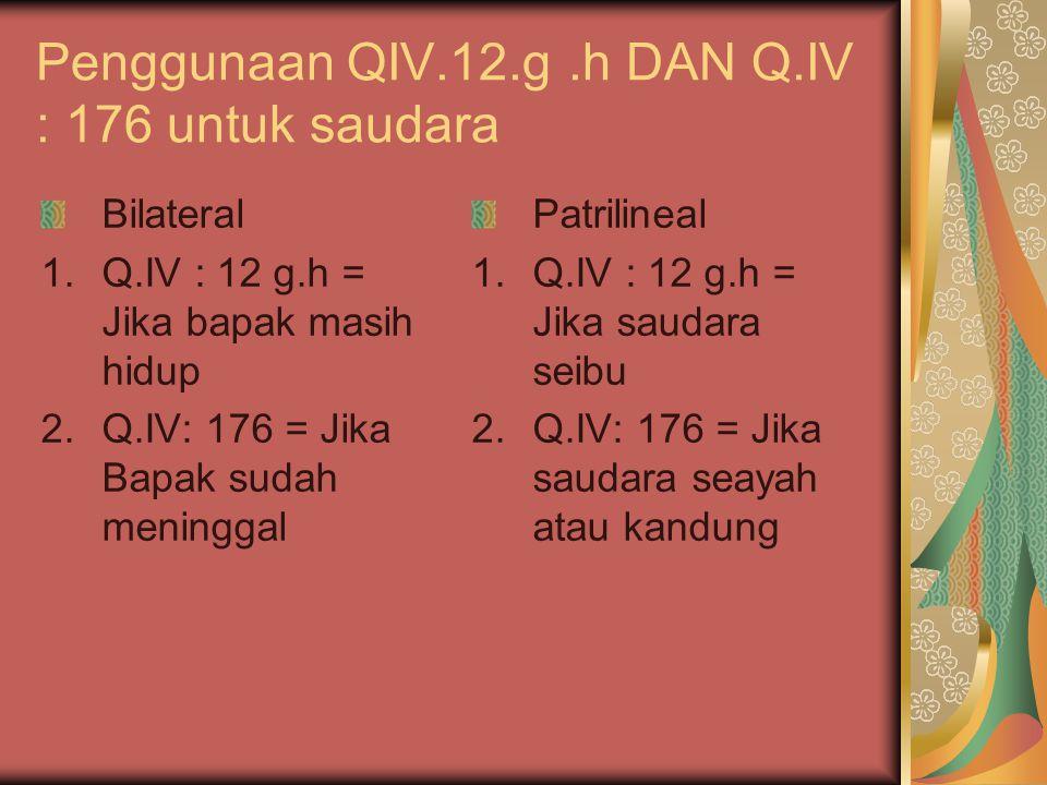 Penggunaan QIV.12.g .h DAN Q.IV : 176 untuk saudara