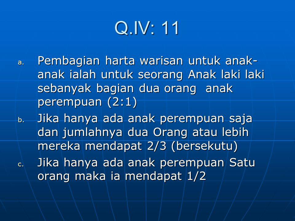 Q.IV: 11 Pembagian harta warisan untuk anak-anak ialah untuk seorang Anak laki laki sebanyak bagian dua orang anak perempuan (2:1)