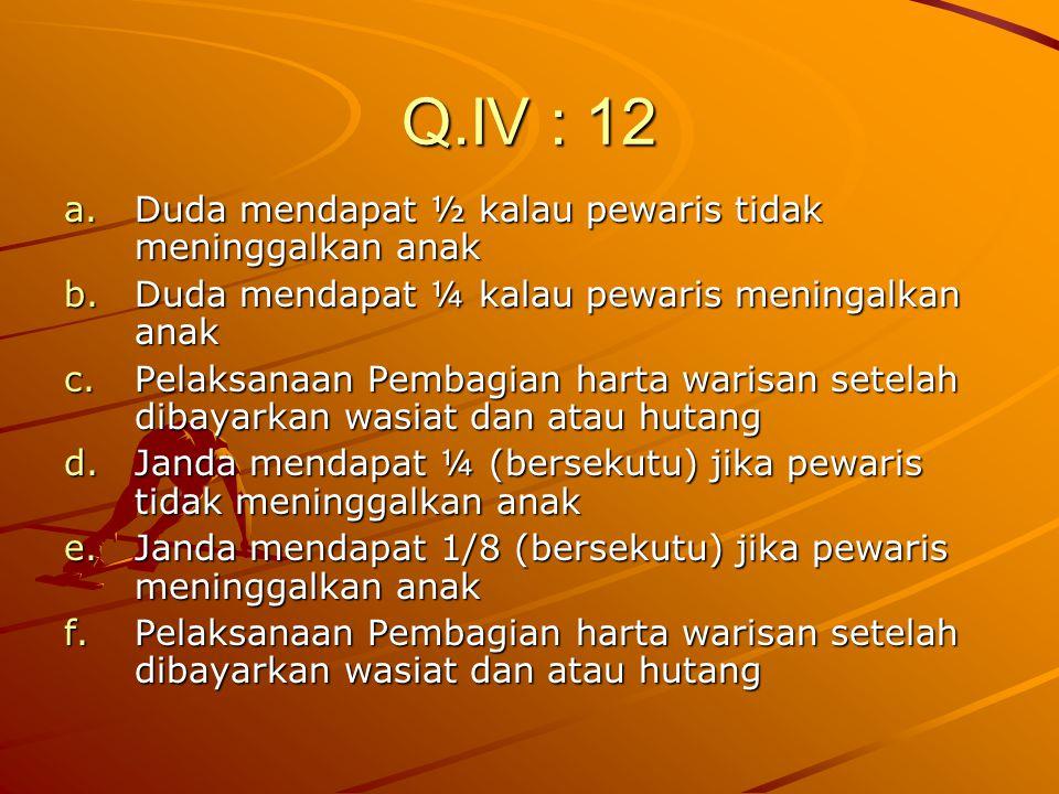 Q.IV : 12 Duda mendapat ½ kalau pewaris tidak meninggalkan anak