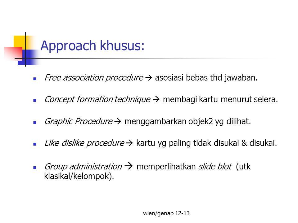 Approach khusus: Free association procedure  asosiasi bebas thd jawaban. Concept formation technique  membagi kartu menurut selera.
