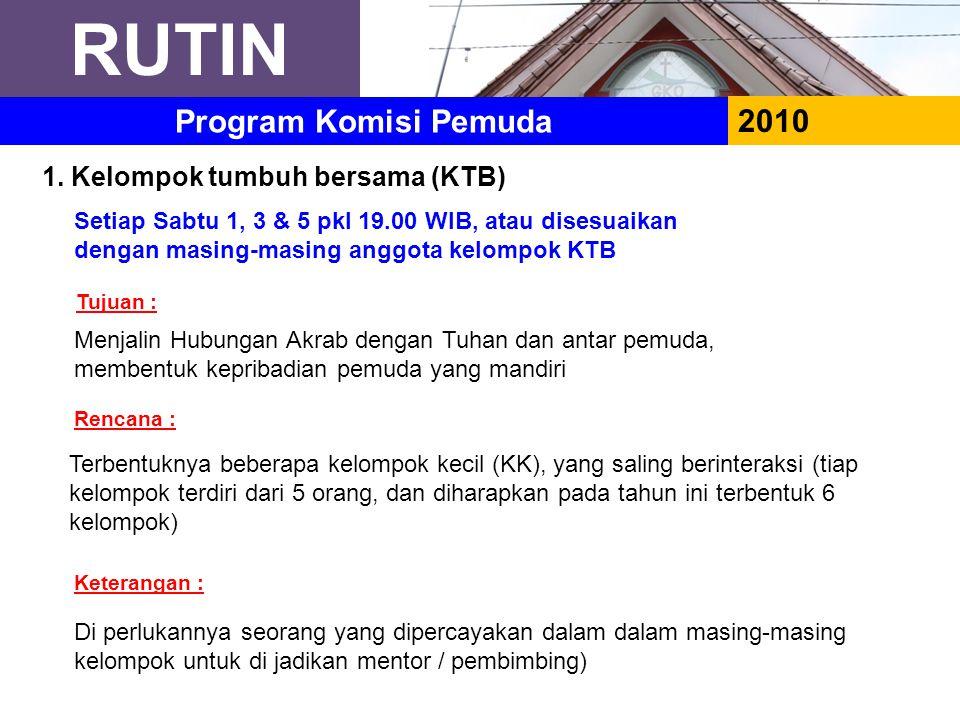 RUTIN Program Komisi Pemuda 2010 1. Kelompok tumbuh bersama (KTB)