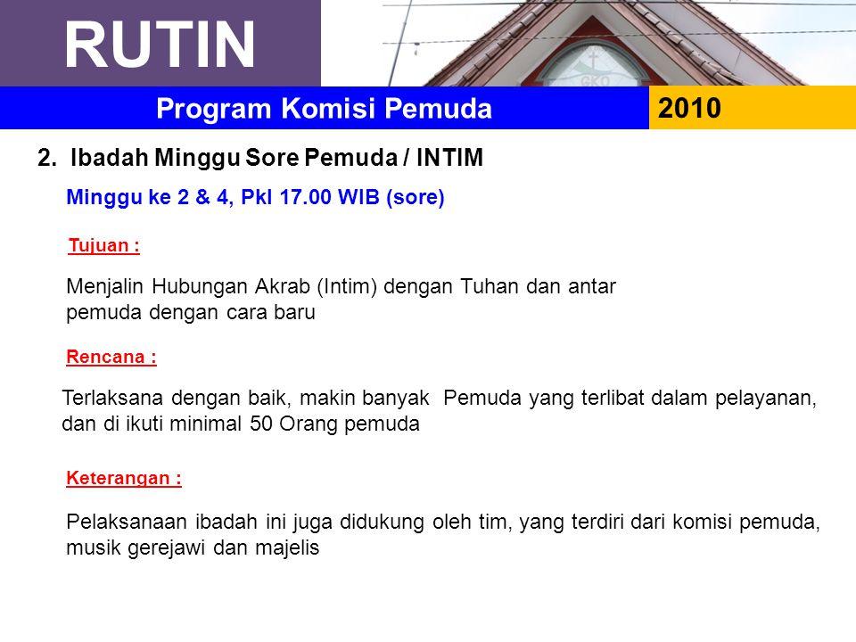 RUTIN Program Komisi Pemuda 2010 2. Ibadah Minggu Sore Pemuda / INTIM