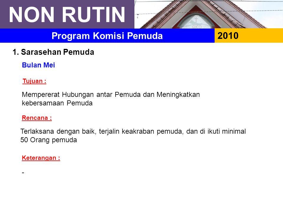 NON RUTIN Program Komisi Pemuda 2010 1. Sarasehan Pemuda Bulan Mei